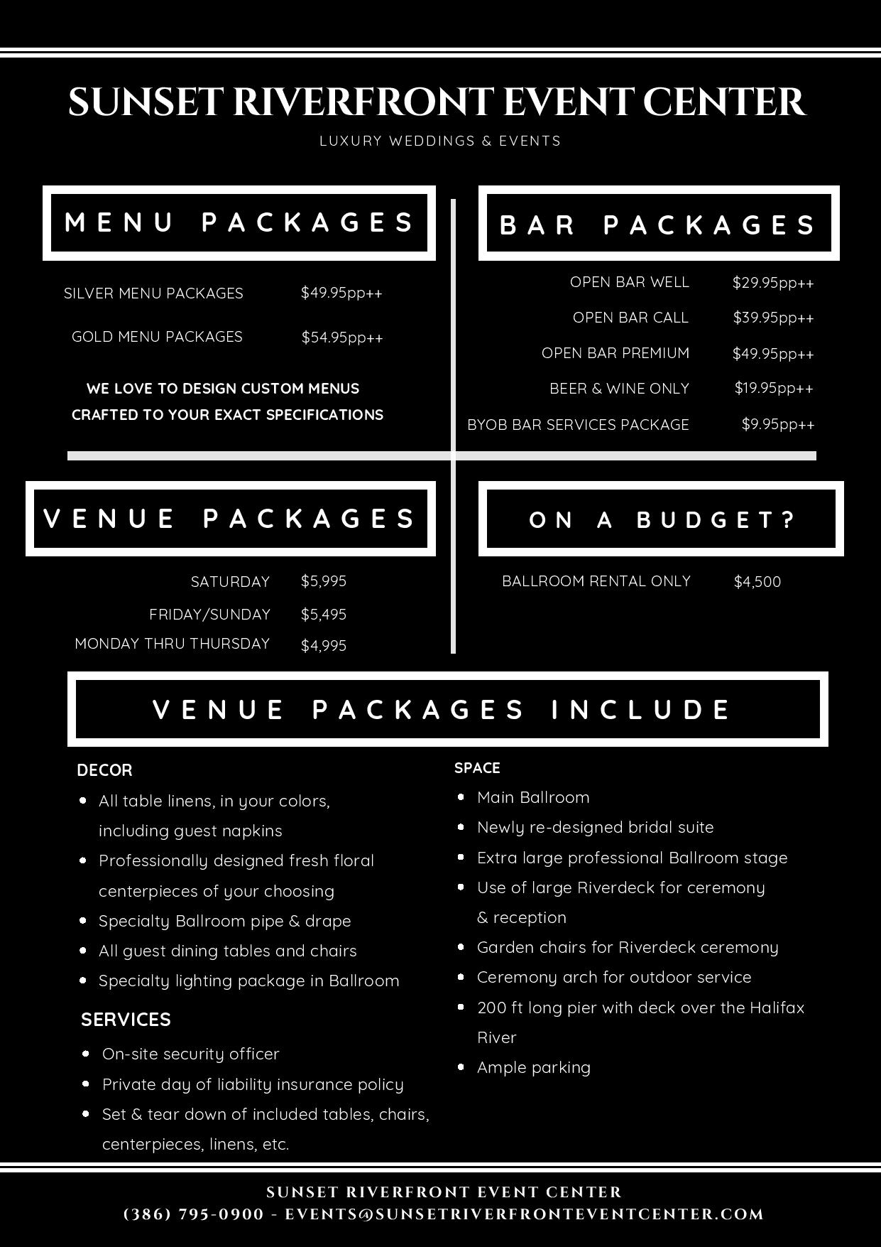 WEDDING PACKAGES – 2020